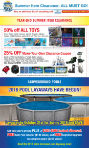 Year-End Clearance on Toys & Equipment + POOL LAYAWAYS Have Begun!