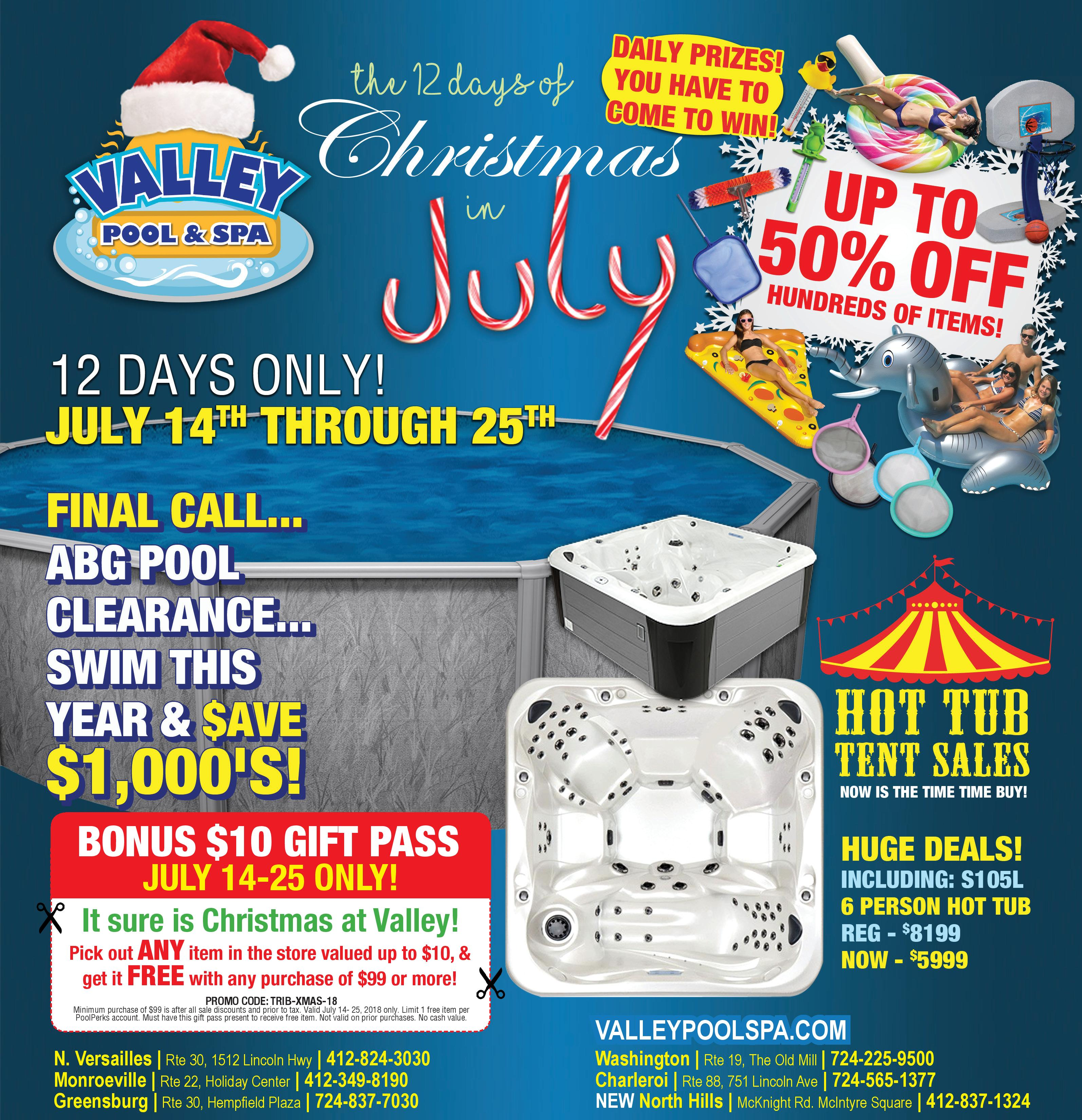 "Our annual ""12 Days of Christmas in July"" HUGE Sales Event, Pool ..."